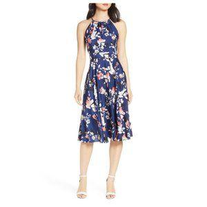 ELIZA J Floral Halter Crêpe de Chine Midi Dress